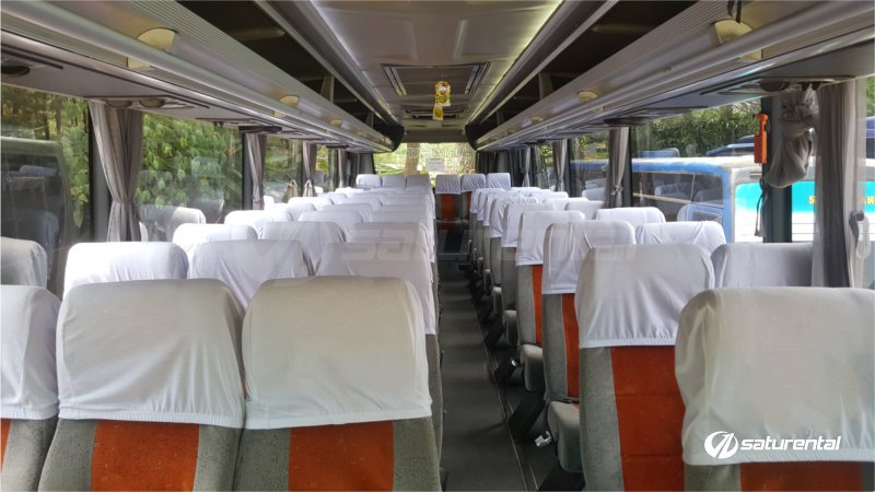 q saturental - foto bus pariwisata panorama interior dalam big 59 seats