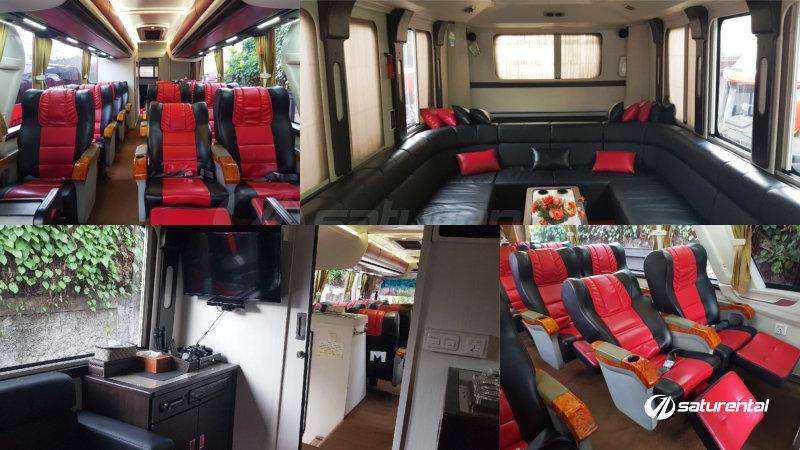 saturental - foto bus pariwisata manhattan luxury mewah interior dalam karaoke 12+6 seats d