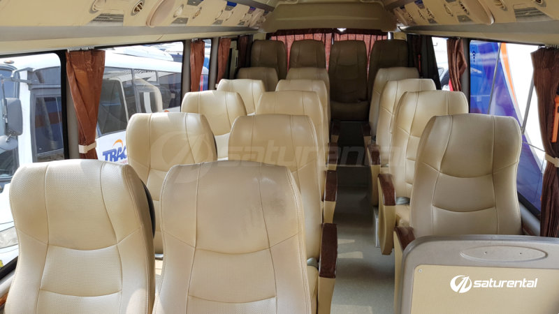 saturental - foto bus pariwisata trac toyota coaster interior dalam 18 23 seats a