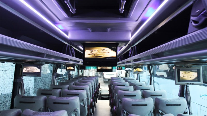 saturental - foto big bus pariwisata patriot shd hdd premium terbaru interior dalam 52 seat a