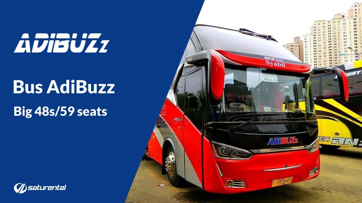 Info Lengkap Foto dan Harga Sewa Bus Pariwisata AdiBuzz - Saturental