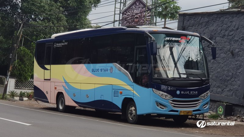 foto bus pariwisata blue star medium 22 seats a