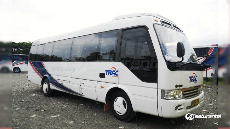foto bus pariwisata trac toyota coaster 18 23 seats c