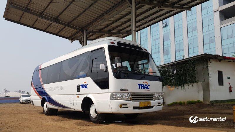 foto bus pariwisata trac toyota coaster 18 23 seats d