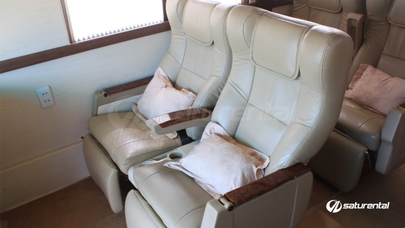 saturental - sewa bus pariwisata luxury weha one white horse interior 15 seats e